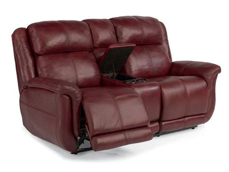 power reclining leather loveseat with console flexsteel living room leather or fabric power reclining