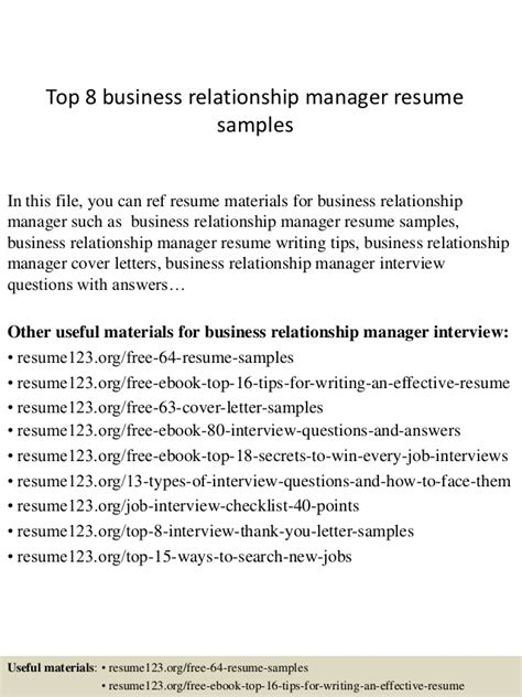 Business Relationship Manager Sle Resume by Top 8 Business Relationship Manager Resume Sles
