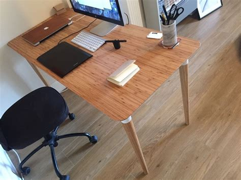 beautiful desks new beautiful office desk natural wood bamboo hilver ikea