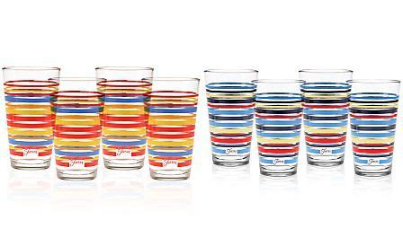 fiesta scarlet stripe set   highball glasses
