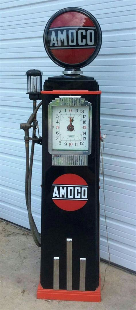 antique gas l globes restored original amoco clock faced gas pump gas globes