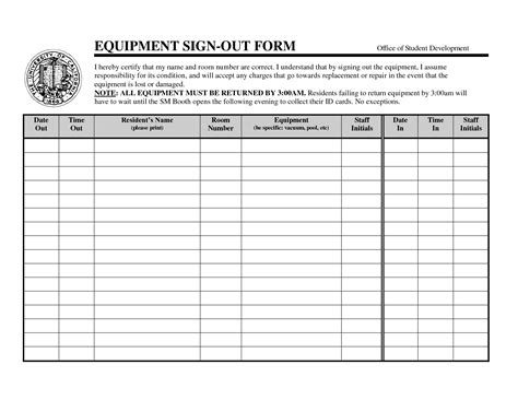 Equipment Sign Out Sheet Template by Best Photos Of Equipment Check Out Form Template Excel