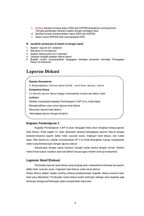 format laporan diskusi 2 laporan dan diskusi