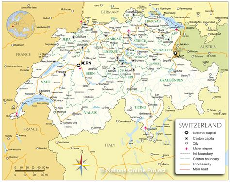 map of switzerland and germany with cities administrative map of switzerland nations project