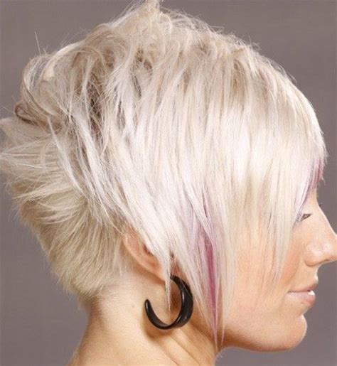 pink highlights hair older women light blonde short hair pink highlights asymmetrical