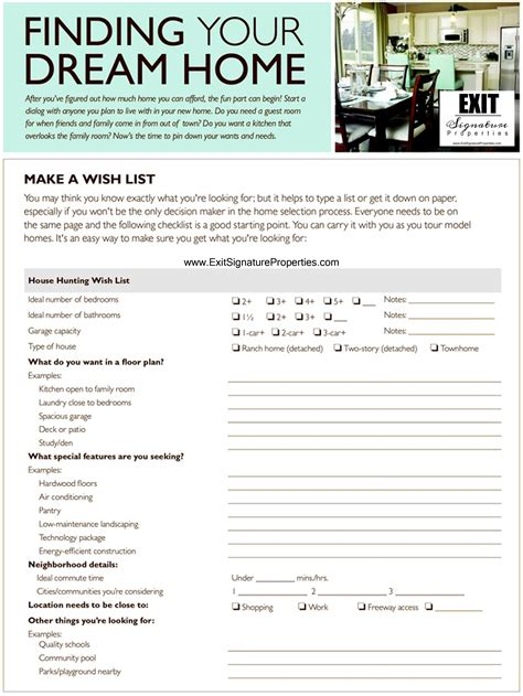 printable house buying checklist exit signature properties giving you the vip treatment