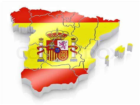 spain colors map of spain in flag colors stock photo colourbox
