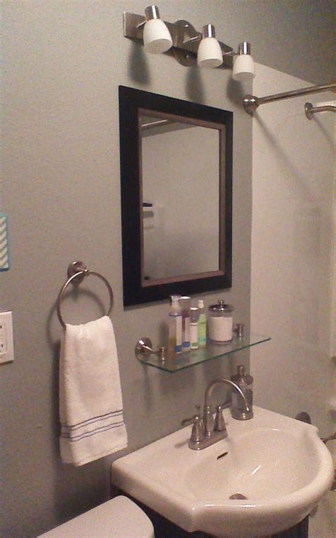 bathroom mirror with glass shelf after added glass shelf under mirror for the home