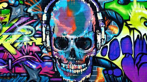wallpaper graffiti skull colorful