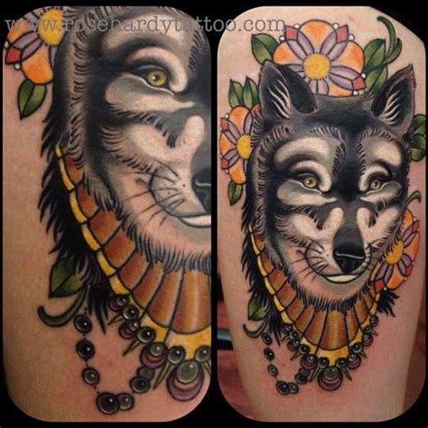 rose hardy tattoos wolf thigh by hardy