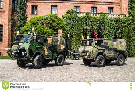 volvo military  road vehicles   castle  rzucewo editorial photo image