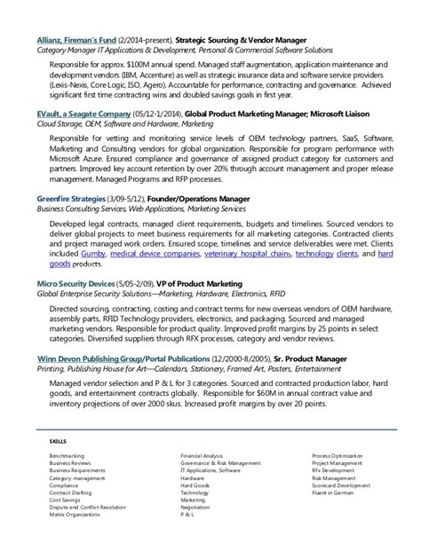 Vendor Management Project Manager Resume by Inka Traktman Sourcing Vendor Management Resume