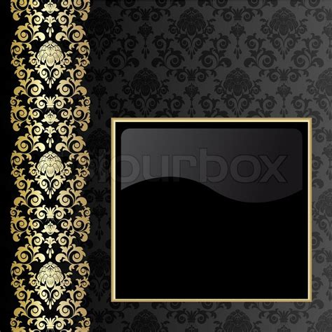 black background with flowers and leaves and gold frame stock vector colourbox