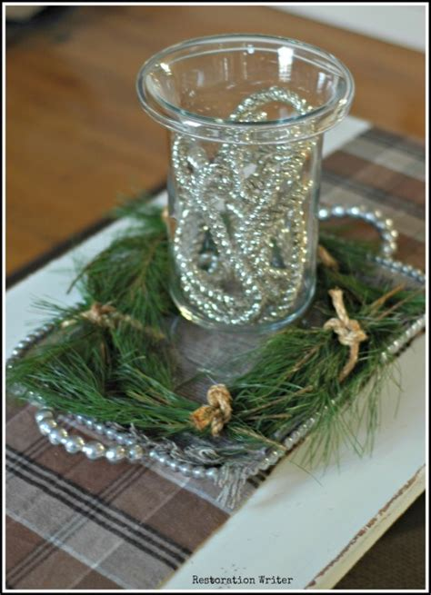 Christmas Coffee Table Centerpiece - have a very neutral and classic christmas restoration writer