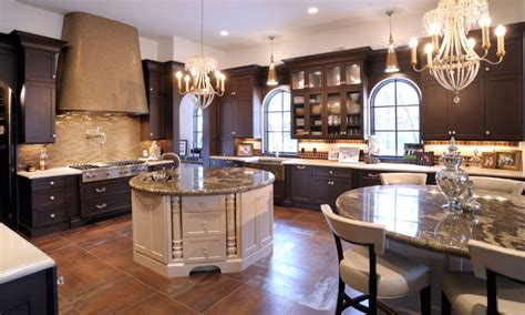 Elegant Kitchen Islands | levant elegant kitchen with dual round islands