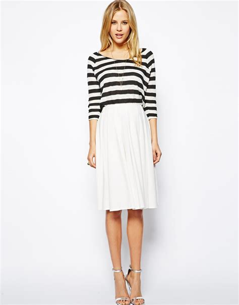 asos midi skirt in ponte with bold pleats in white lyst