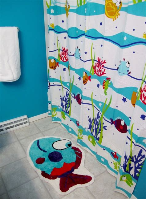 Bathroom cool blue paint color ideas for kids bathroom with tropical fish bath mats and fish