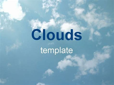 Clouds On A Blue Sky Cloud Template For Powerpoint