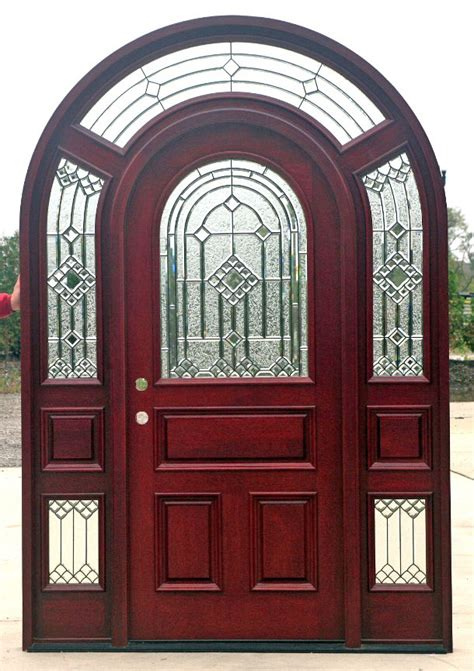 Exterior Patio Blinds Arched Mahogany Door System With Surround Transom