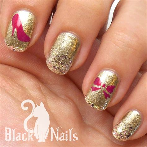 easy nail art gold easy sticky nails stencil gold pink interview nail art