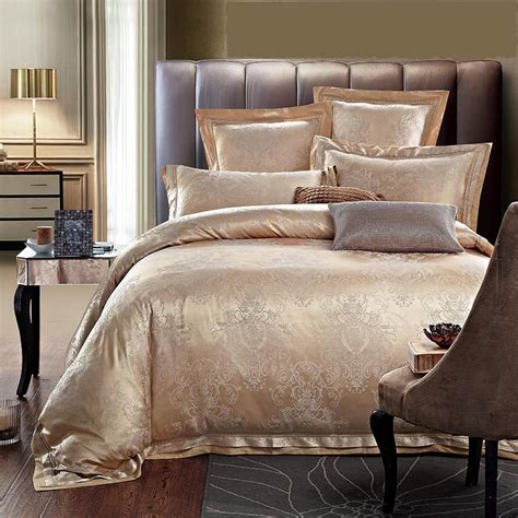 satin bed comforter luxury jacquard silk cotton bedding set queen king size