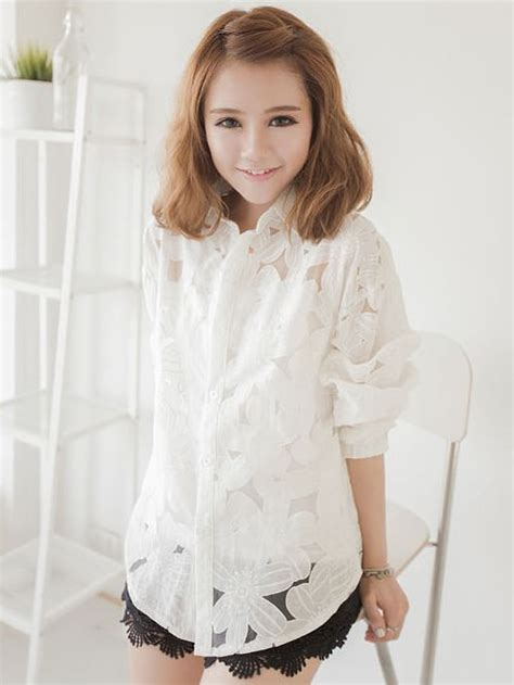 New Flower Blouse stylish new flower embroidery white blouse
