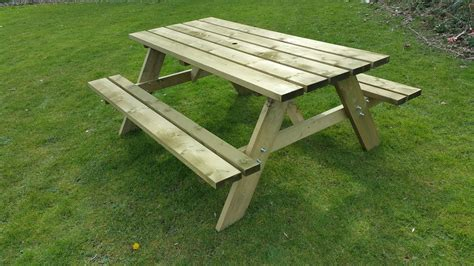 picnic table with bench heavy duty 38mm thick rectangle picnic table