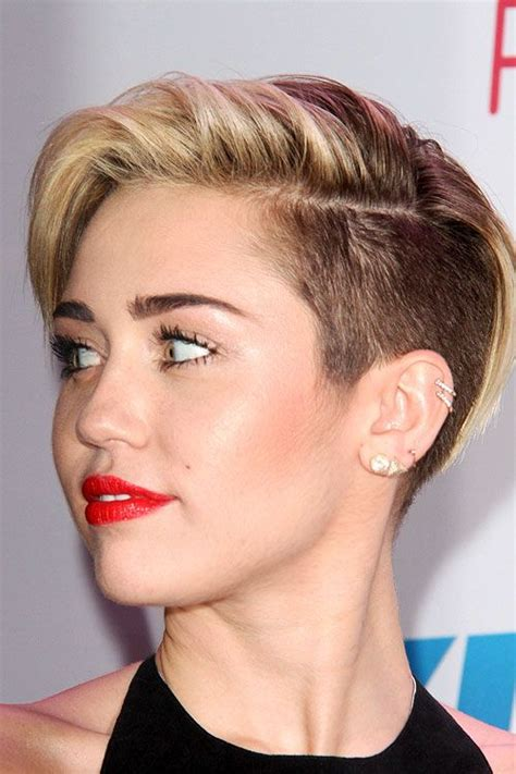 Miley Cyrus Straight Light Brown Side Part, Undercut