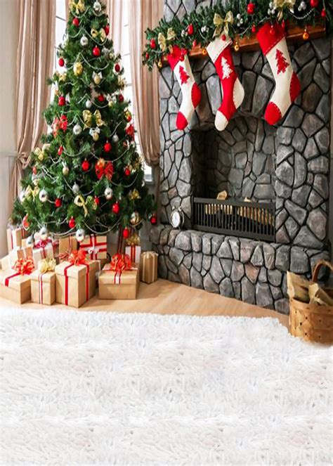 christmas tree socks house vinyl photography backdrops