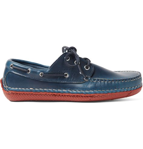 quoddy boat shoes quoddy moc ii leather boat shoes in blue for men lyst