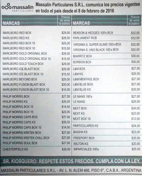 aumento cigarrillos 2016 lista de precios aumento cigarrillos 2016 lista de precios