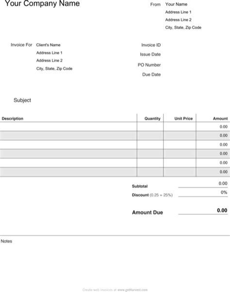 download blank invoice template for free formtemplate