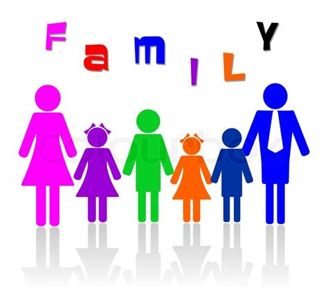 family of six members illustration stock photo colourbox