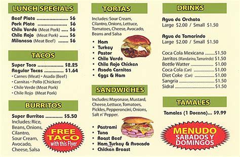 hacienda mexican restaurant catering menu online menu from post card backside yelp