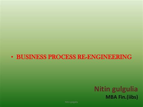 Mba Process Engineering by Business Process Reengineering