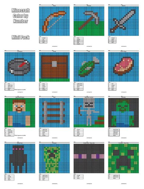 minecraft coloring pages with numbers minecraft color by number cover 16 math pinterest