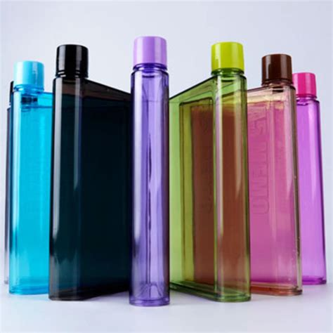 Flat Bottle 595ml Bpa Free square memo water bottles flat paper bottles