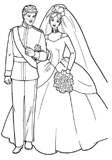 barbie  prince wedding disney coloring pages kids