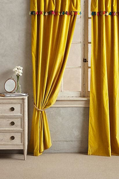mustard velvet curtains firenze velvet tassel curtain i anthropologie com