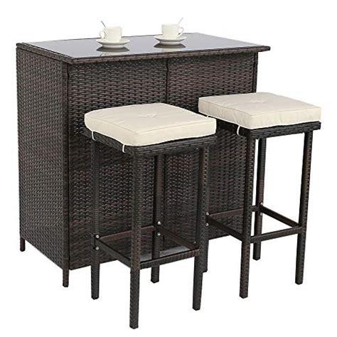 dou pcs patio bar set  stools brown wicker patio