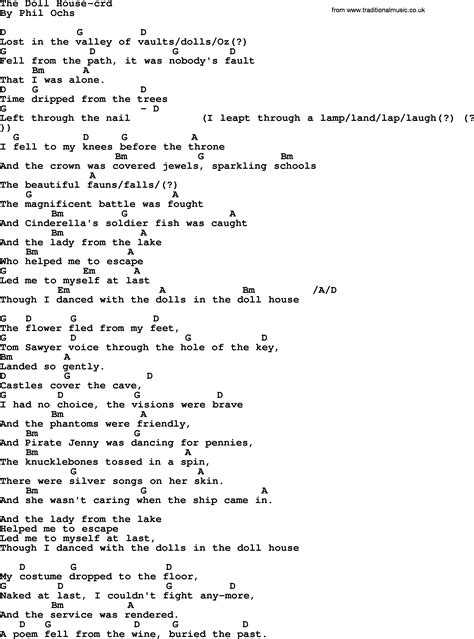 a z dollhouse lyrics phil ochs song the doll house lyrics and chords