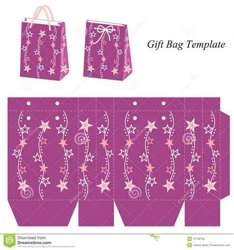 gift bag net template bag template with stock vector image 47738794