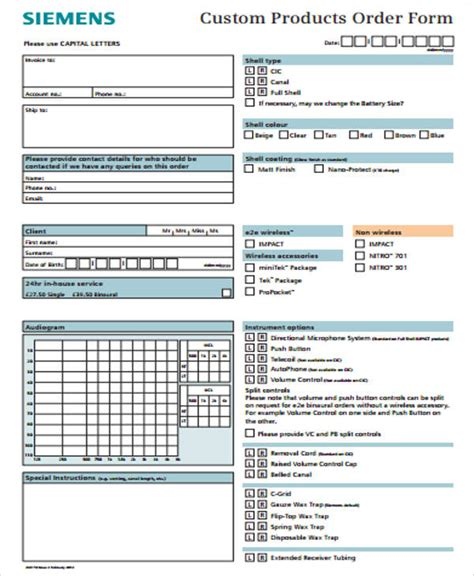 Cake Order Forms Templates