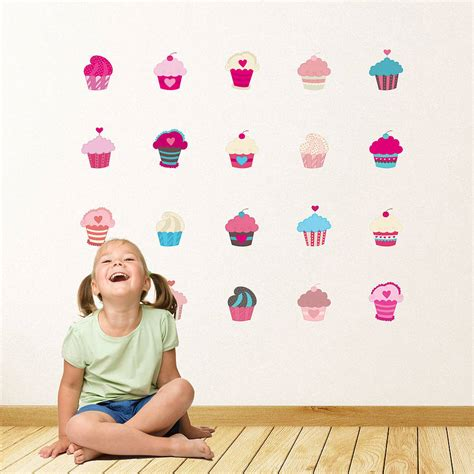 cupcake wall stickers cupcakes wall stickers by parkins interiors notonthehighstreet