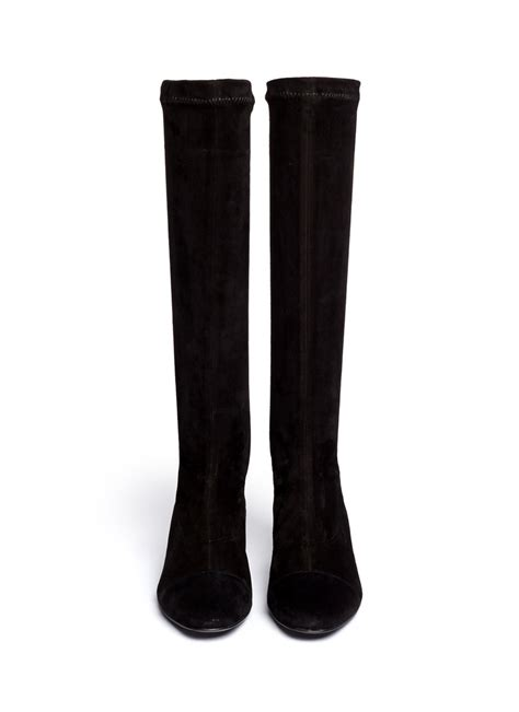 robert clergerie cofre metal heel suede knee high boots