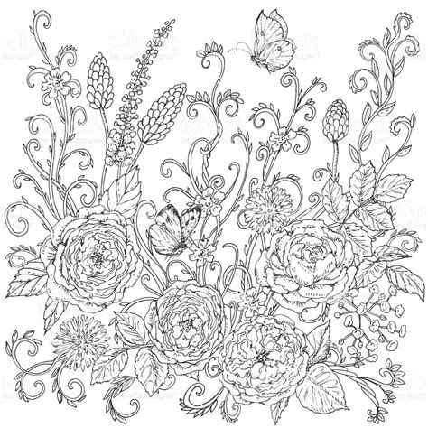 hand drawn flower pattern drawn pattern flower pencil and in color drawn pattern