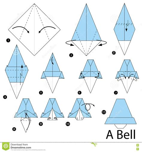 How To Make A Paper Bell - step by step how to make origami a bell