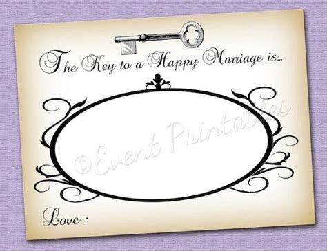 Happy Wedding Card Template by Items Similar To Key To A Happy Marriage Advice Cards