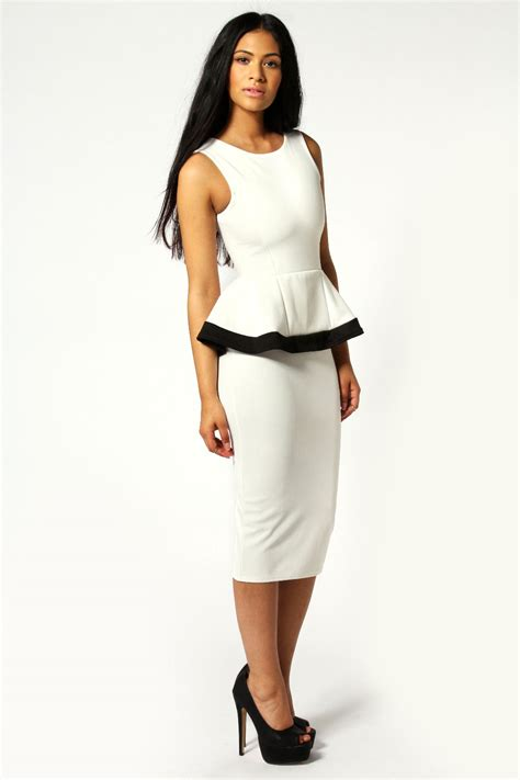 Best Buy Toasters Claire Contrast Trim Peplum Detail Midi Dress Ivory