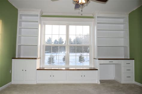 built in window seat nursery window seat bookshelves and desk by